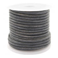DQ leer rond 2 mm Vintage dark grey