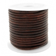 DQ leer rond 2 mm Vintage dark peacan brown