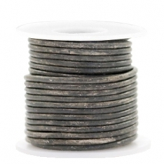 DQ leer rond 2 mm Vintage stormy grey metallic