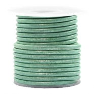 DQ leer rond 3 mm Vintage lark green metallic