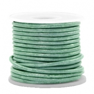 DQ leer rond 2 mm Vintage lark green metallic