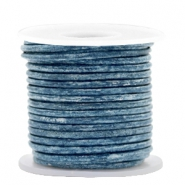 DQ leer rond 2 mm Vintage cool blue metallic