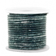 DQ leer rond 2 mm Vintage barberry blue metallic