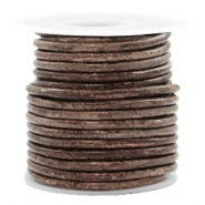 DQ leer rond 3 mm Vintage driftwood brown metallic