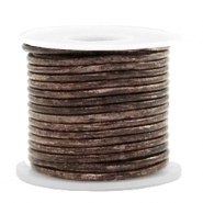 DQ leer rond 2 mm Vintage driftwood brown metallic