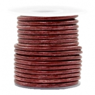 DQ leer rond 3 mm Vintage maroon rust red metallic