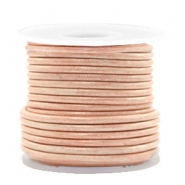 DQ leer rond 2 mm Vintage mauve moon rose metallic