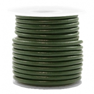DQ leer rond 3 mm Army green metallic