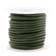 DQ leer rond 2 mm Army green metallic