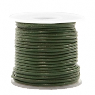 DQ leer rond 1 mm Army green metallic