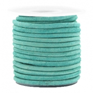 DQ leer rond 3 mm Antique turquoise green