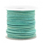 DQ leer rond 1 mm Antique turquoise green