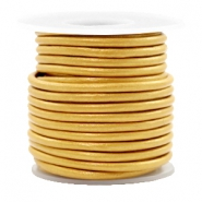 DQ leer rond 3 mm Golden yellow metallic