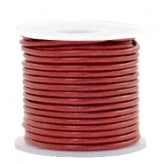 DQ leer rond 2 mm Moroccan red metallic