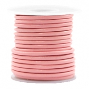 DQ leer rond 3 mm Blossom pink metallic