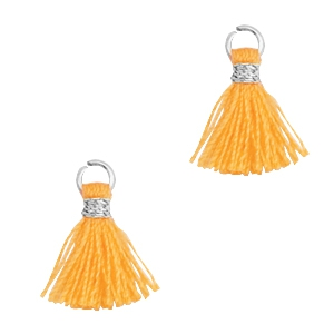 Kwastjes 1cm Zilver-Fire orange