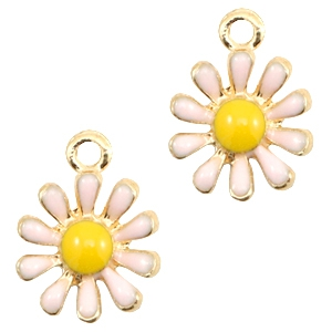 Basic quality metalen bedels daisy Gold-light pink