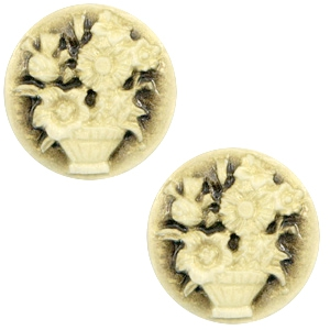 Cabochon basic camee 20mm boeket Black-antique gold