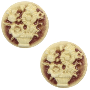 Cabochon basic camee 20mm boeket Brown-antique gold