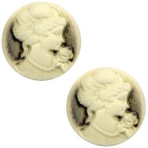 Cabochon basic camee 20mm Black-antique gold