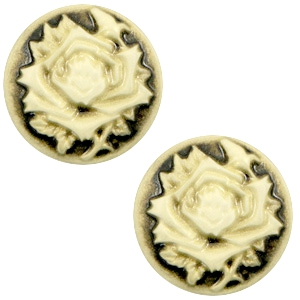 Cabochon basic camee 12mm roos Black-antique gold