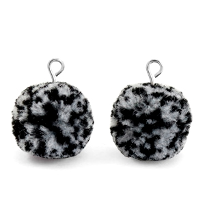 Pompom bedels met oog 15mm Black white-silver