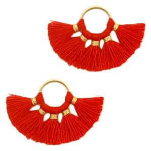 Kwastjes hanger Gold-red