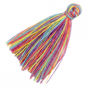 Kwastjes basic 3cm Multicolour rainbow purple