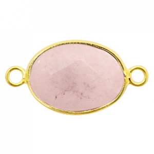 Half edelsteen hangers/tussenstukken ovaal 18x14mm rose quartz Gold-Rose grey