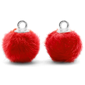Pompom bedels met oog faux fur 12mm Siam red-silver