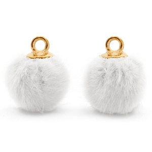 Pompom bedels met oog faux fur 12mm White-gold