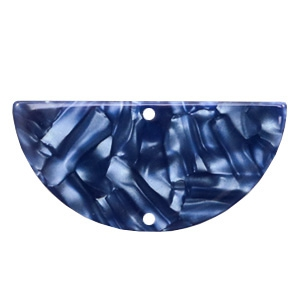 Resin hangers / tussenstukken halve cirkel 35x17mm Dark blue
