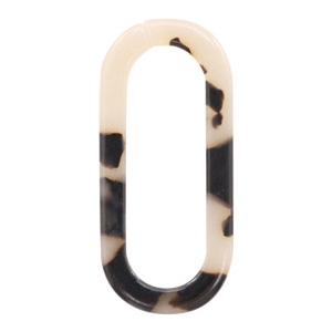 Resin hangers schakels ovaal 33x15mm Creme-black