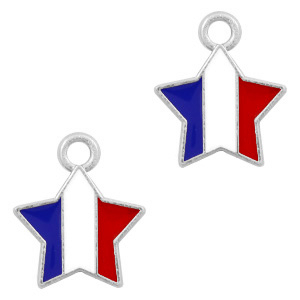 Basic Quality metalen bedels ster Zilver-Red white blue