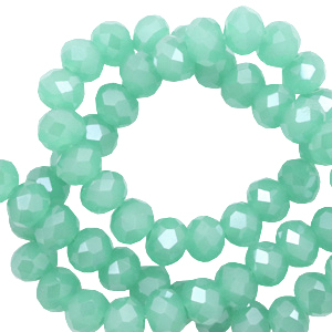 Top Facet kralen 8x6 mm disc Light emerald green-pearl shine coating