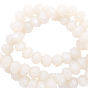 Top Facet kralen 4x3 mm disc Ivory beige-pearl shine coating