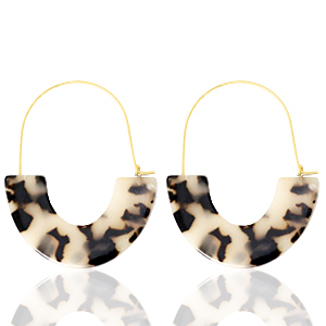 Trendy oorbellen resin Cream black-gold