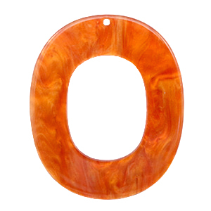 Resin hangers ovaal 48x40mm Flame orange