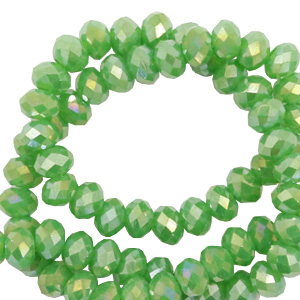 Top Facet kralen 3x2 mm disc Nile green-diamond shine coating
