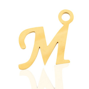 Roestvrij stalen (RVS) Stainless steel bedels initial M Goud