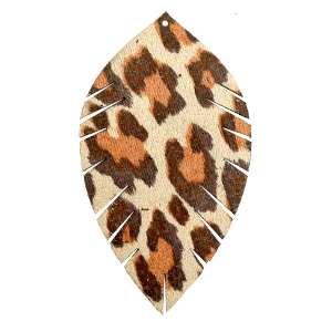 Imi leer hangers leaf large leopard Beige-red brown