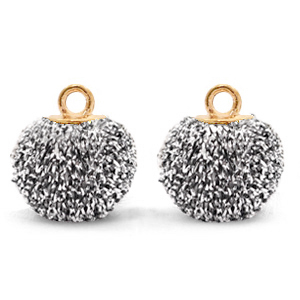 Pompom bedels met oog glitter 12mm Black silver-gold