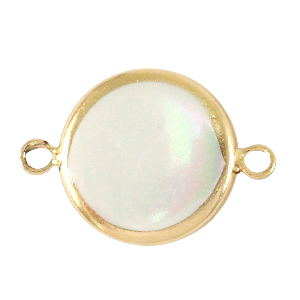 Schelp kralen tussenstuk round 15mm Gold-Natural white