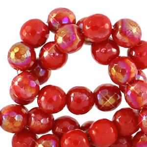 8 mm natuursteen kralen rond facet geslepen Rasberry rose-AB coating