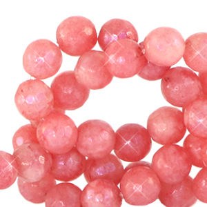 6 mm natuursteen kralen rond facet geslepen Living coral red-opal AB coating