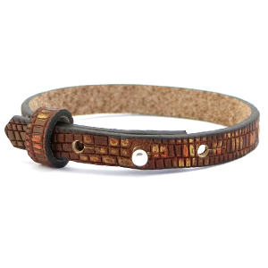 Cuoio armbanden leer croco 8 mm voor 12 mm cabochon Colonial brown-gold
