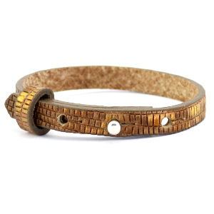 Cuoio armbanden leer croco 8 mm voor 12 mm cabochon Tobacco brown-gold