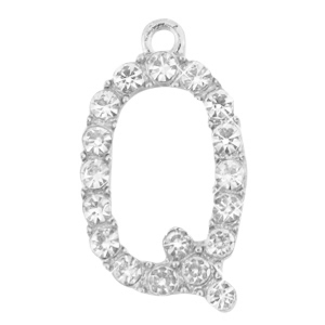 Basic quality metalen bedels strass initial Q Antiek zilver