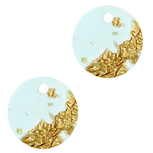 Resin hangers rond 12mm Blue gold-transparant