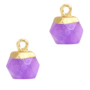 Natuursteen hangers hexagon Purple-gold